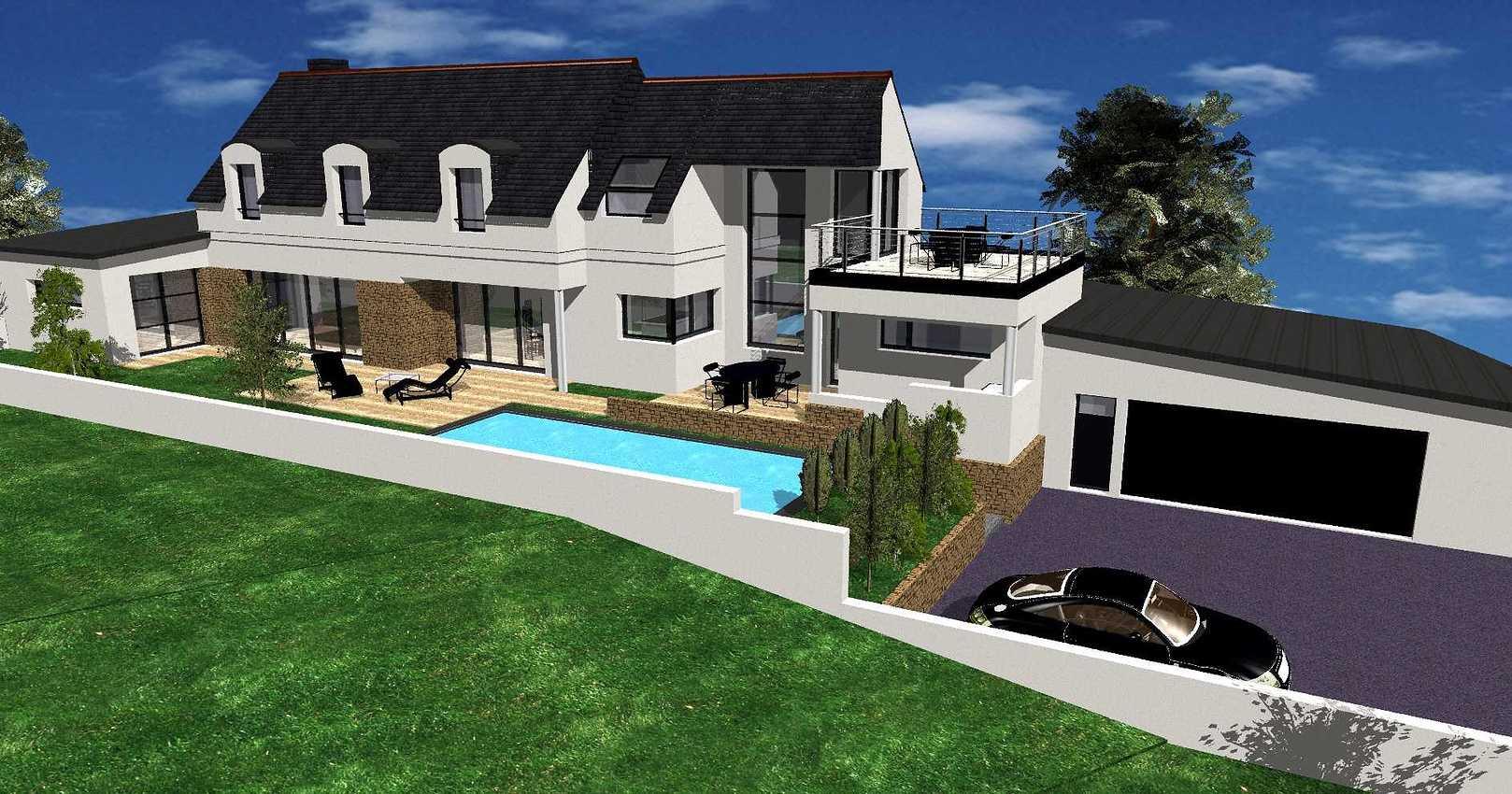 Projet maison contemporaine avec piscine - Erquy es1