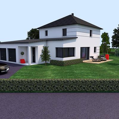 Avant projet construction maison alternance toit 4 pans et toit plats - Coetmieux